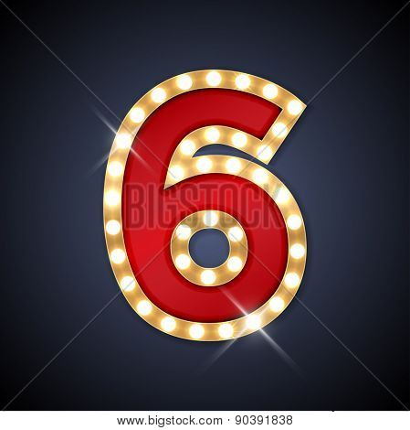 Vector illustration of realistic retro signboard number 6 (six). Part of alphabet including special European letters.