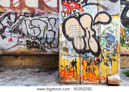 Abandoned Courtyard Interior With Colorful Graffiti