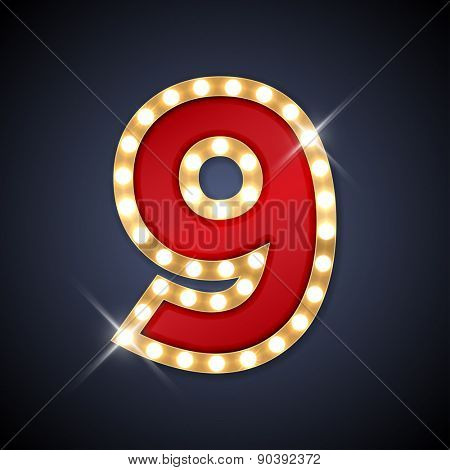 Vector illustration of realistic retro signboard number 9 (nine). Part of alphabet including special European letters.