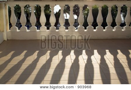 Balustrade Casting Shadows In Sunshine