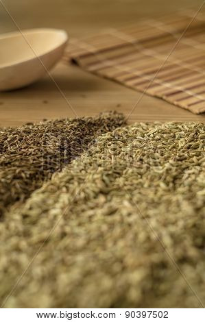 Spice Fennel, Cumin On A Wooden Table.