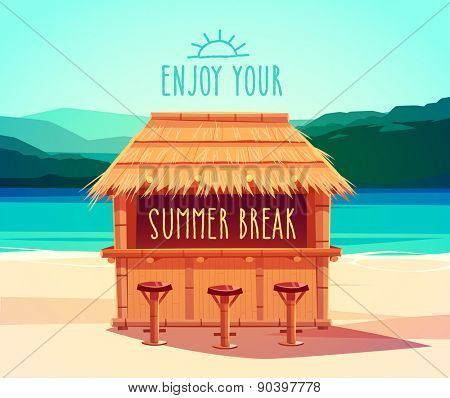Tiki bar. Summer card / poster / template. Vector illustration.