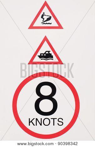 Marine Speed Warning Sign.