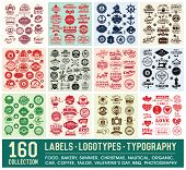 160 Labels and Logotypes design set. Retro Typography design. Badges, Logos, Borders, Arrows, Ribbons, Icons and Objects. poster
