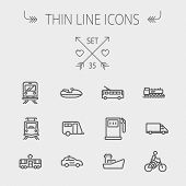 Transportation thin line icon set for web and mobile. Set includes- gas pump, vessel, car, train, bus, boat  icons. Modern minimalistic flat design. Vector dark grey icons on light grey background. poster