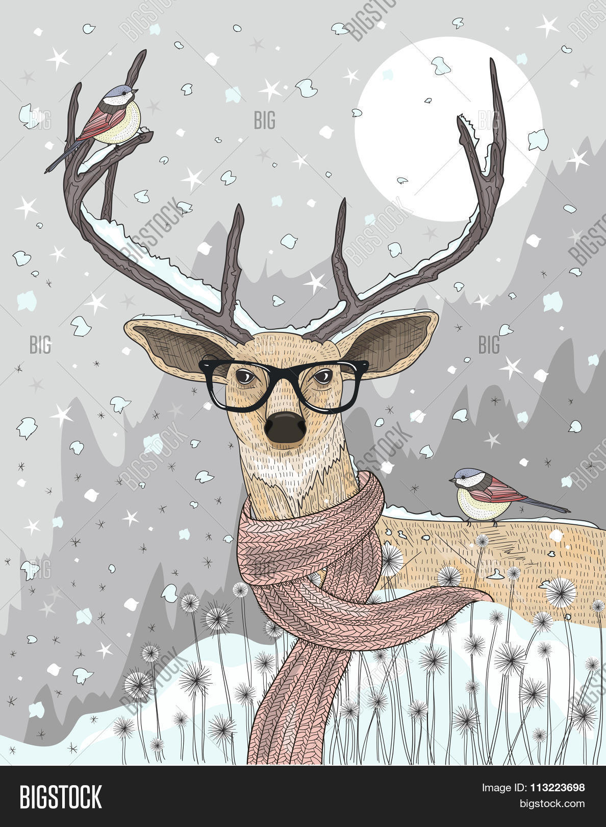 968ede9acf9 Cute Hipster Deer With Scarf And Glasses. Winter Night Christmas  Illustration.