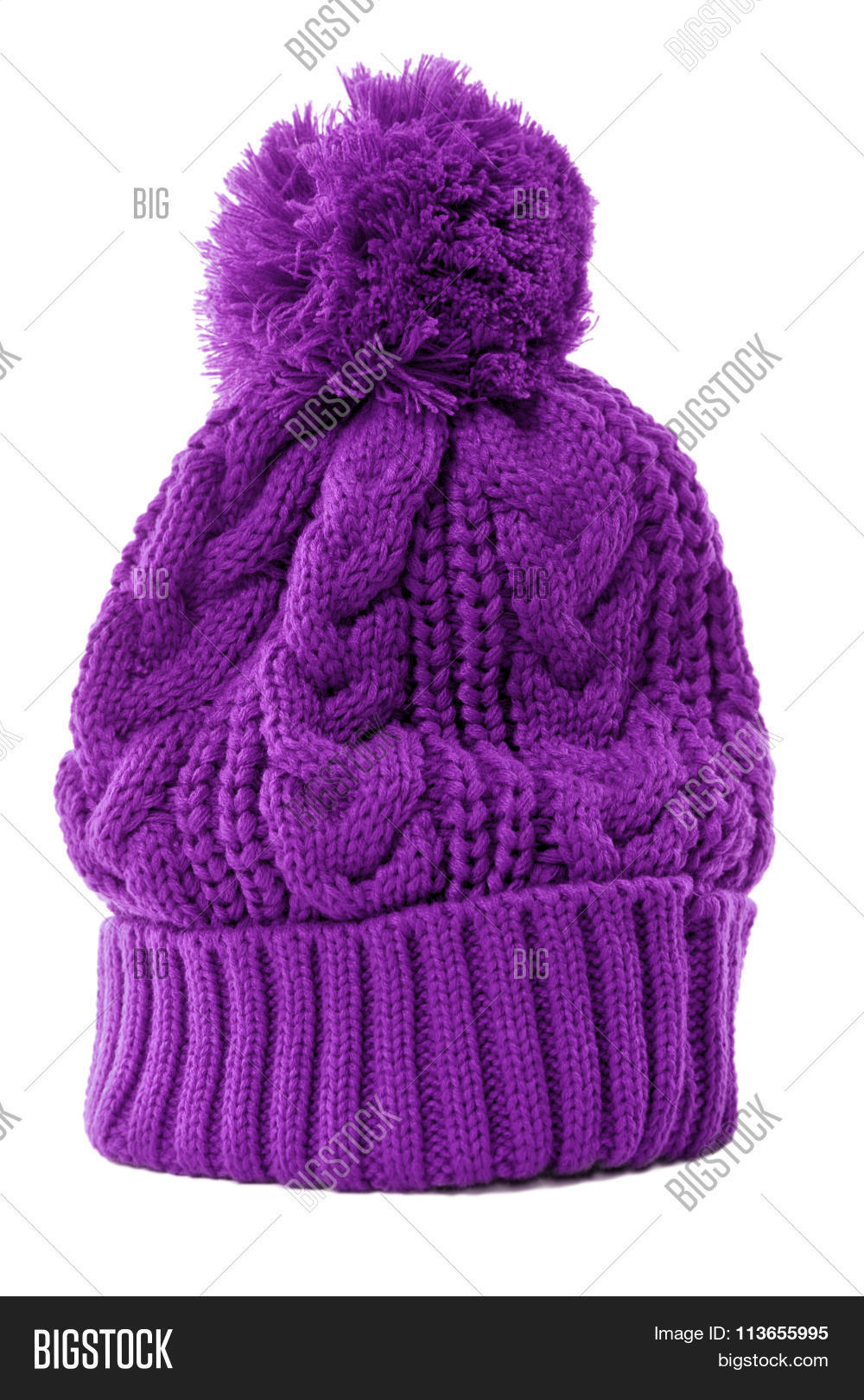 b1c772db108 Purple winter ski hat or knit hat isolated against a white background.