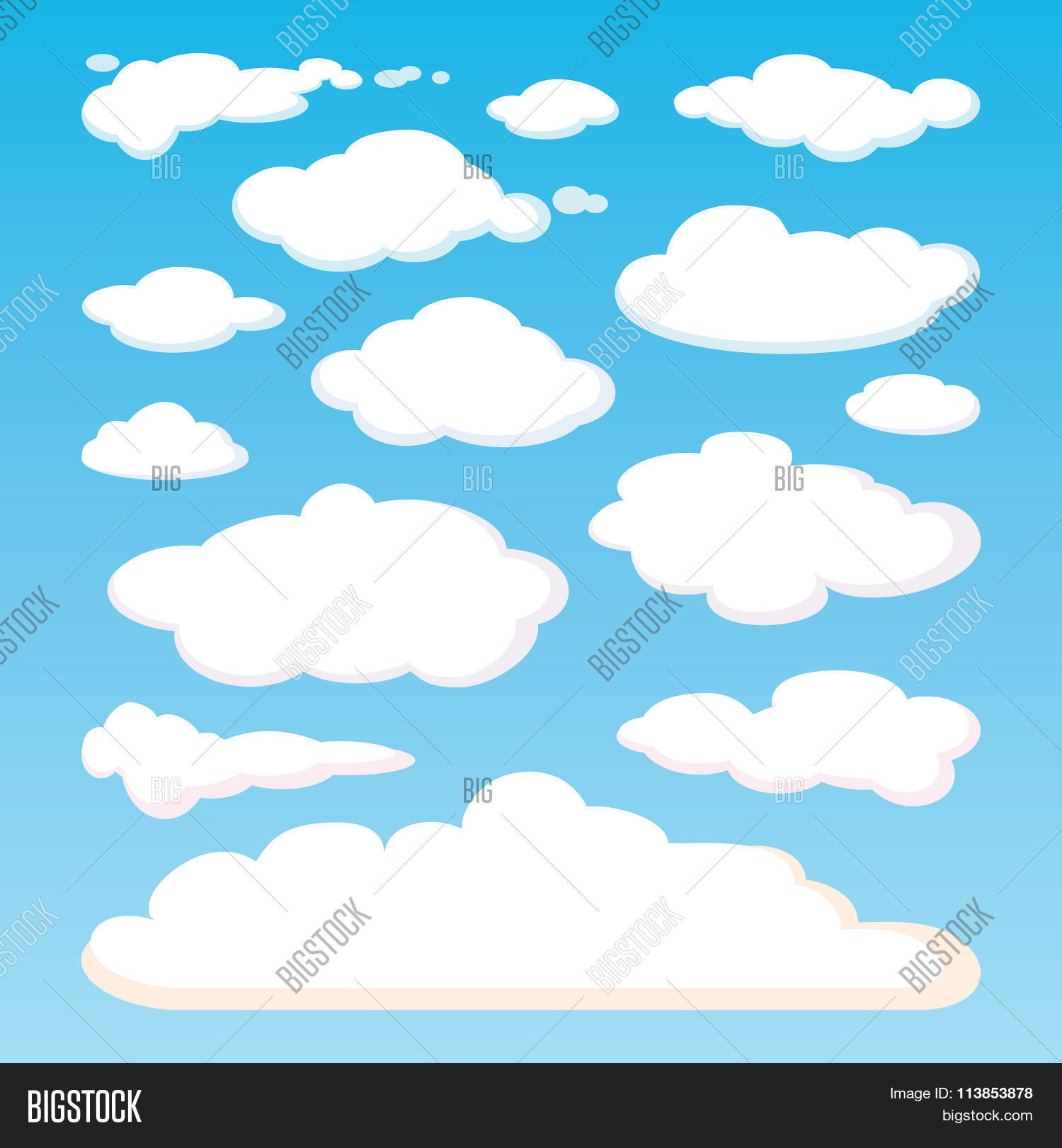 Pattern White Clouds Vector & Photo (Free Trial) | Bigstock