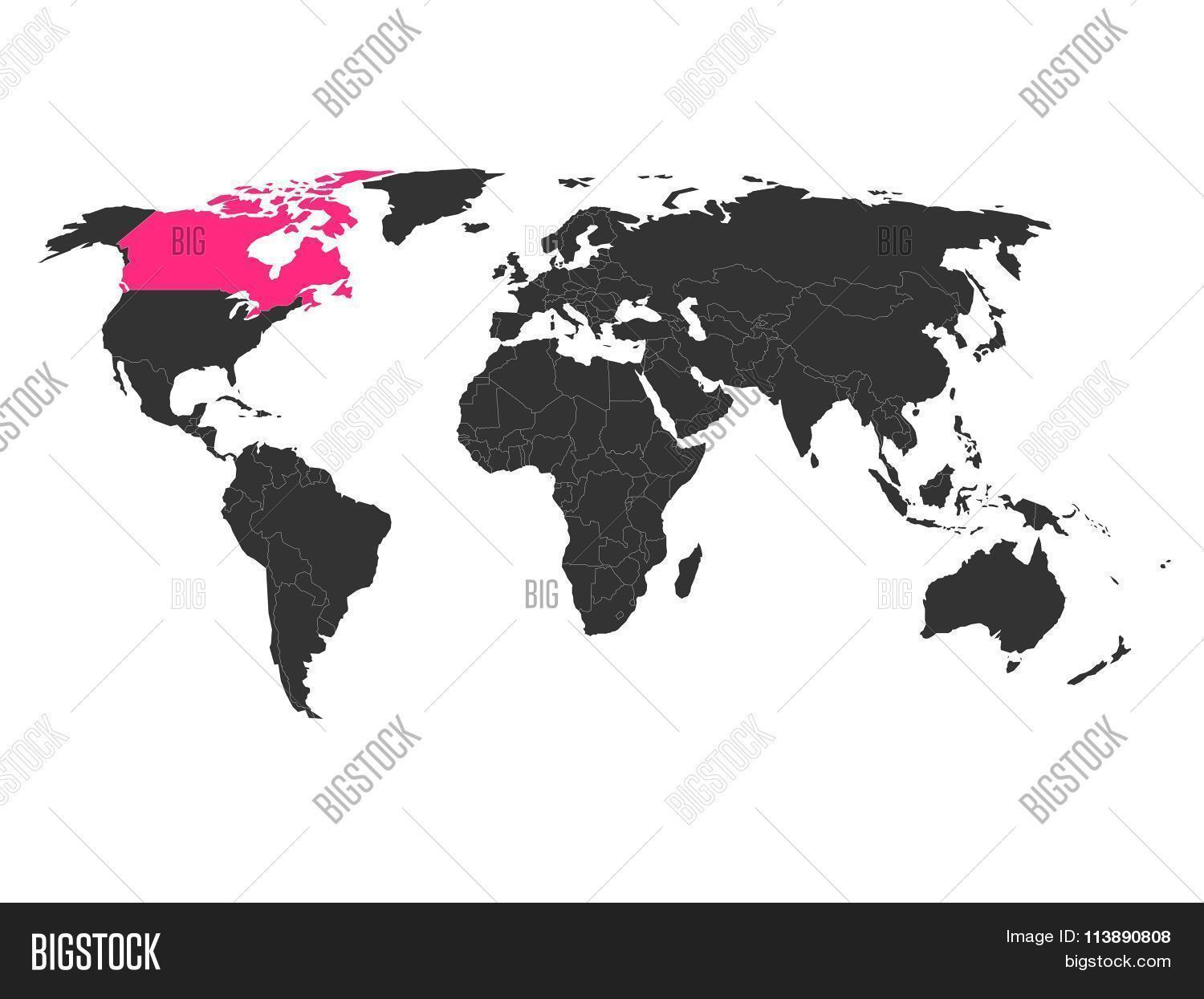 World map highlighted vector photo free trial bigstock world map with highlighted canada gumiabroncs Gallery