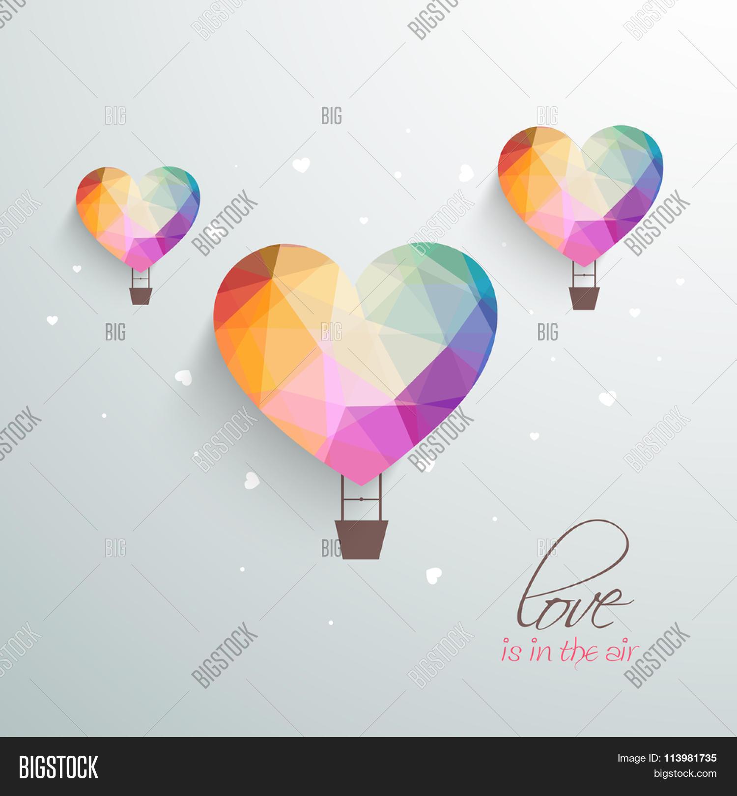 Love air creative hot air vector photo bigstock love is in the air creative hot air balloons in colorful origami heart shape for jeuxipadfo Choice Image