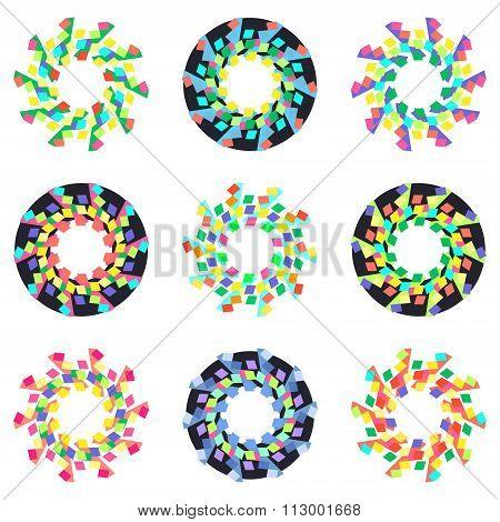 Circular Geometric Mosaic Patterns.