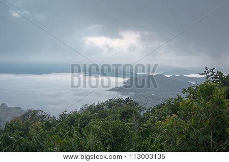 Sea Of Mist On The Mountain. Blur Background