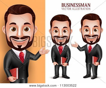 3D Realistic Professional Lawyer Man Student Vector Character Happy Holding Book Isolated in White Background. Set of Vector Illustration poster