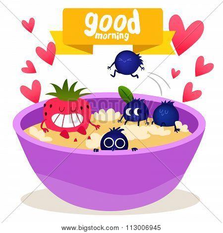 Breakfast  Oatmeal with berries. Fruit in love. Vector illustration. Best breakfast, oatmeal time. G
