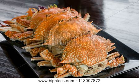 Steamed Flower Crab Or Blue Crab
