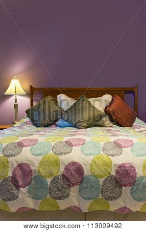 Bed And Pillows Of Purple Bedroom