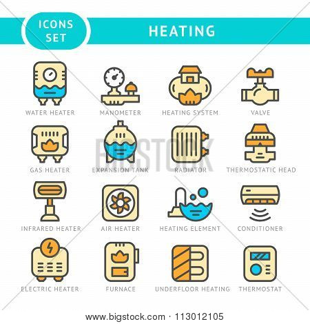 Set Line Icons Of Heating
