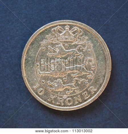 10 Danish krone (DKK) coin currency of Denmark over black background poster
