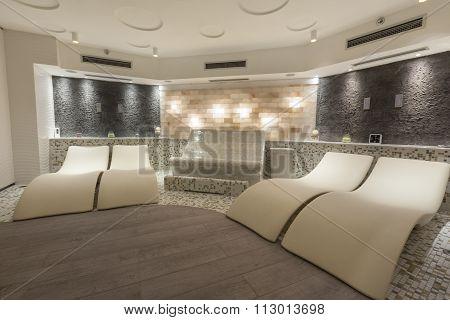 sun beds in hotel spa interior