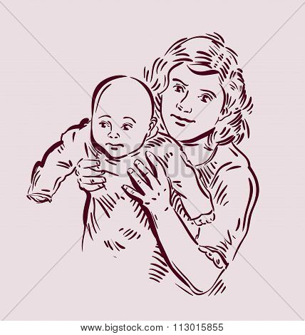 Hand drawn sketch mother and baby. Vector illustration