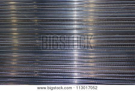 Steel Round Bars Or Rods Close Up