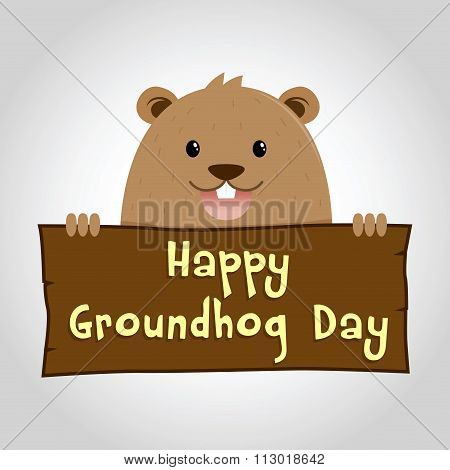 Groundhog Holding A Wooden Sign