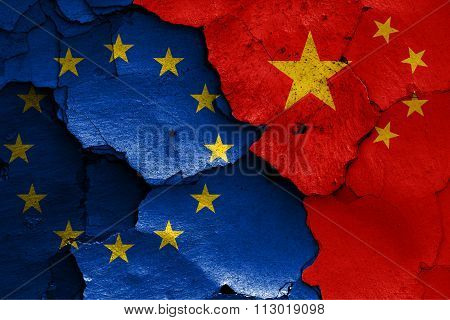 Flags Of Eu And China Painted On Cracked Wall