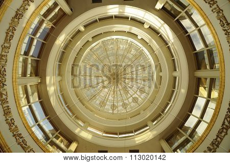 Inside main dome of the Crystal Mosque or Masjid Kristal in Terengganu, Malaysia