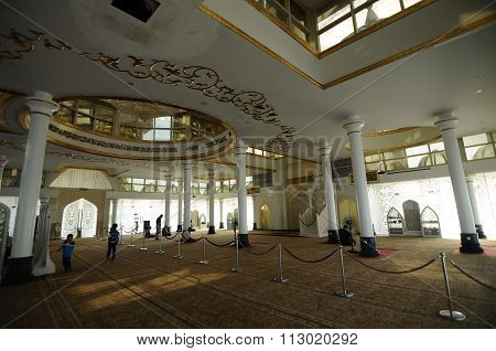 Interior of the Crystal Mosque or Masjid Kristal in Terengganu, Malaysia