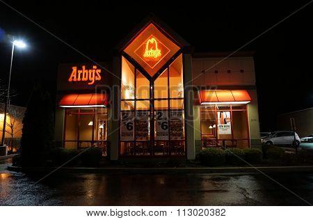 Arby's Restaurant at Night