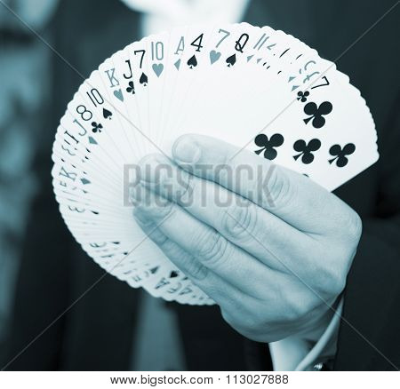Playing Cards In Hand Of Magician