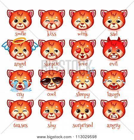 Set Of Emoticons Funny Red Pandas.