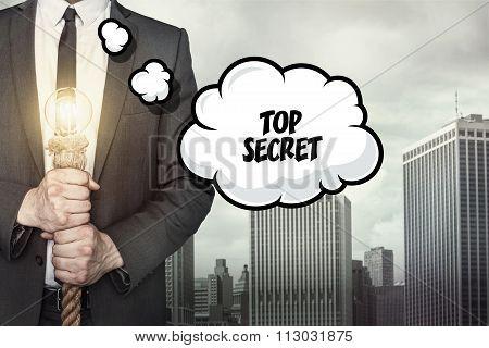 Top secret text on speech bubble