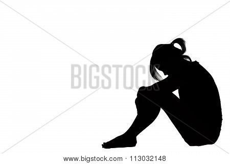 A Woman Sad Depressed Sitting Along Isolated On White Background.
