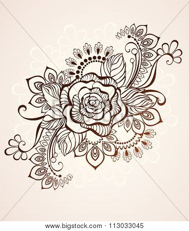 Rose Painted With Henna