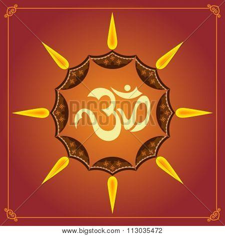 Aum (Om) The Holy Motif Raster Illustration