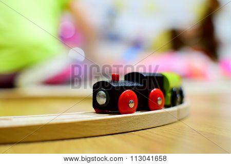 Wooden Train. Toy Detail.