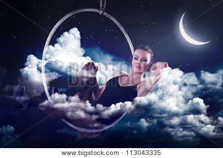 Sensual Woman Dreaming And Relax At Night