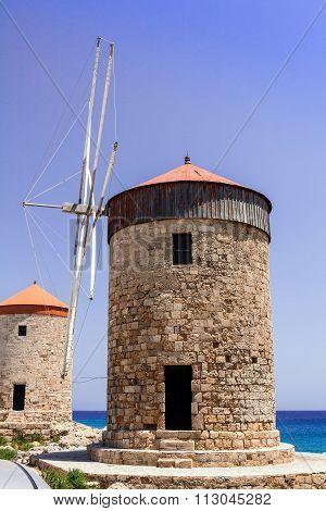 HIstoric windmills in Rhodes.