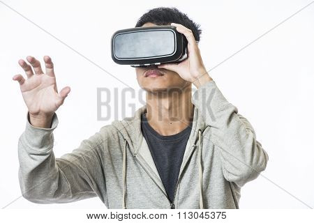 man using the virtual reality headset background