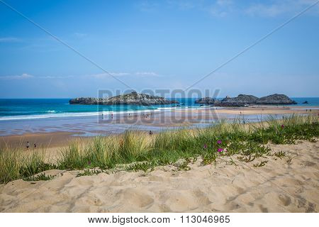 Cuarezo Beach In Noja. Santander. Cantabria. Spain. Europe.