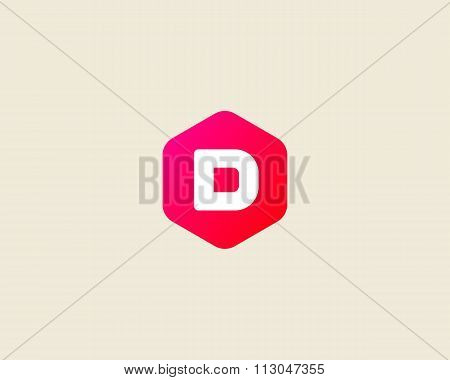 Abstract letter D logo design template. Colorful creative hexagon sign. Universal vector icon.