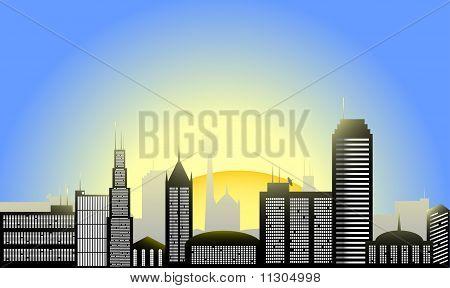 Sunrise City Vector Illustration
