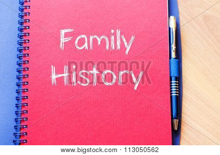 Family history text concept write on notebook with pen poster