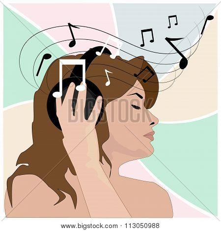 Girl In Headphones Listens To Music