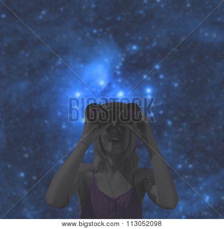 Stargazing through binoculars.