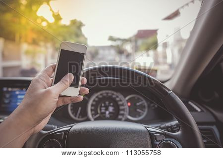 Driver Using White Touch Screen Smartphone