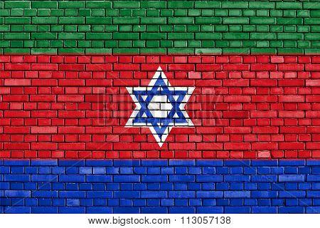 Flag Of Bnei Menashe Painted On Brick Wall