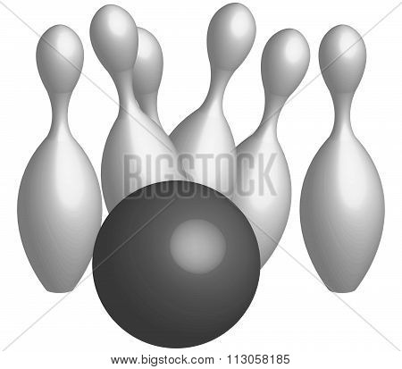 bowling pins and bowling ball illustrated on a white background