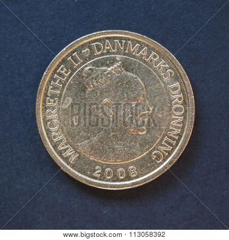 10 Danish Krone Coin Over Black Background